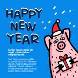 Gelukkige nieuwe de groetkaart van het jaarvarken Grappige varkens met suikergoedriet, giften en santahoeden 2019 Chinees nieuw j vector illustratie