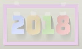 Gelukkige Nieuwe het Jaardocument van 2018 het Document van Art Style Design Adhesive Masking Kleverige Strookbanden Schaduwen va Vector Illustratie