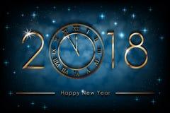 Gelukkige Nieuwe het Jaarillustratie van 2018 op blauwe glanzende achtergrond De banner van het groetennieuwjaar met gouden klok  royalty-vrije illustratie