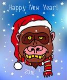 Gelukkige Nieuwe het Jaarprentbriefkaar van 2016 met gorillaaap in Kerstmishoed Stock Foto