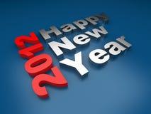Gelukkige Nieuwe jaar 2012 tekst. 3d op blauw Royalty-vrije Stock Foto's