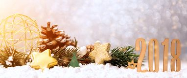 Gelukkige nieuwe jaar 2018 achtergrond met Kerstmisdecoratie Stock Foto