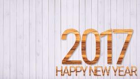 Gelukkige nieuwe jaar 2017 doopvont op witte houten lijst Stock Foto