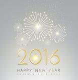 Gelukkige nieuwe jaar en brand het werk zilveren achtergrond Stock Foto's