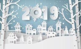 Gelukkige nieuwe jaar en wintertijd, Dorp van de het Landschapsstad van het Sneeuw het Stedelijke Platteland vector illustratie
