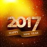 Gelukkige nieuwe jaar 2017 gouden achtergrond stock illustratie