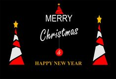 Gelukkige nieuwe jaar & Kerstmiskaart vector illustratie