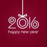Gelukkige nieuwe jaar 2016 rode achtergrond, typografie Stock Foto's