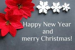 Gelukkige nieuwe jaar` s inschrijving Kerstmisbloem met rode bladeren van de poinsettia op een zwarte achtergrond royalty-vrije stock fotografie