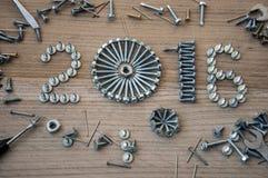 Gelukkige nieuwe jaar 2016 samenstelling met de bouten en de pennen van schroevenspijkers Royalty-vrije Stock Foto