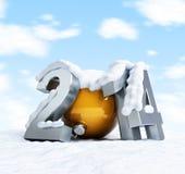 Gelukkige nieuwe jaar 2014 snow-covered inschrijving tegen Stock Foto