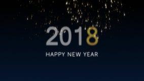 Gelukkige nieuwe jaar 2018 sociale prentbriefkaar met goud geanimeerd vuurwerk op elegante zwarte en blauwe achtergrond viering royalty-vrije illustratie
