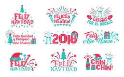 Gelukkige nieuwe jaar Spaanse reeks Royalty-vrije Stock Afbeeldingen