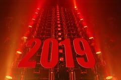 Gelukkige nieuwe jaar van de prestaties het bewegende verlichting 2019 stock afbeeldingen