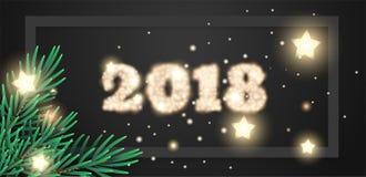 Gelukkige nieuwe jaar 2018 vectorbanner Royalty-vrije Stock Afbeelding