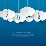 Gelukkige nieuwe jaar 2016 wolk en hemelachtergrond royalty-vrije illustratie