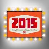 Gelukkige nieuwe jaarachtergrond met de reclame van raad voor 2015 Stock Foto