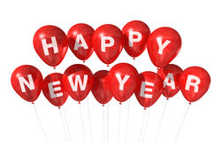 Gelukkige nieuwe jaarballons stock afbeeldingen