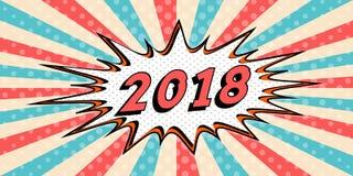 Gelukkige Nieuwe jaarbanner van de stijl van 2018 van Bel van de pop-art de Grappige Toespraak 2018 bedriegt de Vector grappige b Stock Illustratie