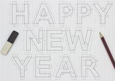 Gelukkige nieuwe jaarblauwdruk Stock Afbeeldingen