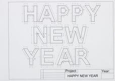 Gelukkige nieuwe jaarblauwdruk Stock Foto