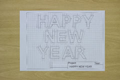 Gelukkige nieuwe jaarblauwdruk Royalty-vrije Stock Fotografie