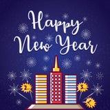 Gelukkige nieuwe jaargroet met vuurwerk stock afbeelding
