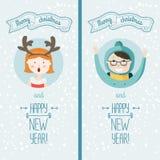 Gelukkige nieuwe jaarkaart met jonge geitjes Royalty-vrije Stock Foto