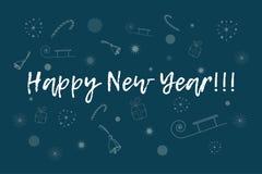 Gelukkige nieuwe jaarkaart Tekst over achtergrond met sneeuwvlokken, giften, suikergoedriet, klokken, sterren, ar Royalty-vrije Stock Foto's