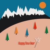 Gelukkige nieuwe jaarprentbriefkaar met bergen en boom Royalty-vrije Stock Foto
