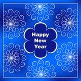 Gelukkige nieuwe jaarprentbriefkaar met blauwe bloem in centrum en openwork Royalty-vrije Stock Afbeeldingen