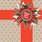 Gelukkige nieuwe jaarprentbriefkaar. Vector illustratie Stock Fotografie