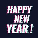 Gelukkige nieuwe jaartekst met nieuwe in glitch stijl vector illustratie