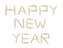 Gelukkige nieuwe jaartekst met wasknijpers Royalty-vrije Stock Afbeeldingen