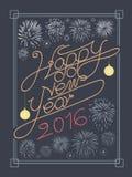 Gelukkige nieuwe jaartypografie en het vectorontwerp van het brandwerk Royalty-vrije Stock Foto's