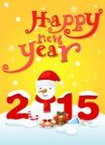 Gelukkige nieuwe jaartypografie en sneeuwman Royalty-vrije Stock Foto