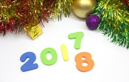 Gelukkige nieuwe kleurrijke de decoratieachtergrond van het jaarcijfer 2018 Royalty-vrije Stock Afbeeldingen