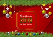 Gelukkige Nieuwe 2019 met Rode Achtergrond en Sneeuwvlok en bal voor het Seizoen van de Kerstmisvakantie, Vectorillustratie vector illustratie