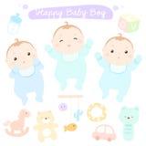 Gelukkige nieuwe weinig leuke babyjongens Vector Illustratie