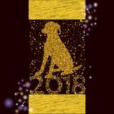 Gelukkige Nieuwjaar 2018 achtergrond met dogg Stock Foto