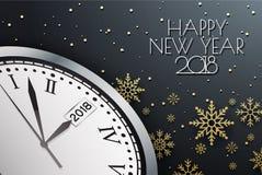 Gelukkige Nieuwjaar 2018 Achtergrond met Klok en Sneeuwvlok Gelukkig H stock illustratie
