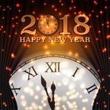 Gelukkige Nieuwjaar 2018 Achtergrond met Klok en Sneeuwvlok Gelukkig H royalty-vrije illustratie