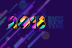 Gelukkige Nieuwjaar 2018 banner Veelkleurige aantallen met motie dynamische textuur op donkerblauwe achtergrond royalty-vrije illustratie