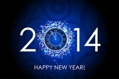 2014 Gelukkige Nieuwjaar blauwe achtergrond met klok Stock Foto