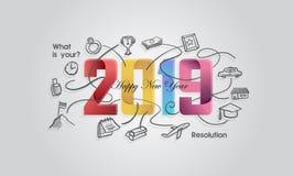 Gelukkige Nieuwjaar 2019 creatieve banner met document gevouwen concept met resolutiepictogram royalty-vrije stock afbeeldingen