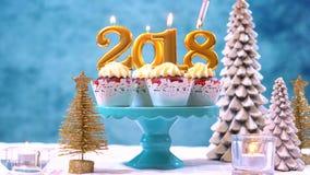 Gelukkige Nieuwjaar 2018 cupcakes Royalty-vrije Stock Afbeeldingen
