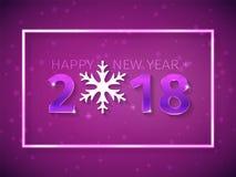 2018 Gelukkige Nieuwjaar 3D aantallen met het gloeien effect op de purpere achtergrond met dalende sneeuw Tekstontwerp met sneeuw Royalty-vrije Stock Afbeelding