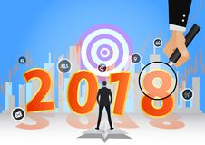 Gelukkige Nieuwjaar 2018 decoratie als achtergrond bedrijfsontwerpmalplaatje 2018 confettien illustratie van datum 2018 jaar Royalty-vrije Stock Afbeeldingen