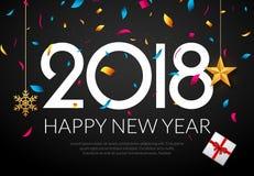 Gelukkige Nieuwjaar 2018 decoratie als achtergrond Het ontwerpmalplaatje 2018 van de groetkaart confettien Vakantie van het jaar  Royalty-vrije Stock Foto