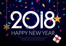Gelukkige Nieuwjaar 2018 decoratie als achtergrond Het ontwerpmalplaatje 2018 van de groetkaart confettien Vakantie van het jaar  Royalty-vrije Stock Foto's